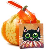 Halloween Pumpkin and Black Cat Decoration  Hand by hjmArtGallery, $17.00