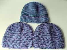Crochet Beanie Turquoise and Lavender adult