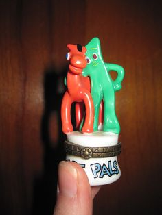 Vintage Gumby and Pokey Limoge Box - Best Pals Mini Book Inside - Small Limoge Gumby and Friends