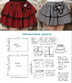 Ideas Skirt Pattern Sewing English - Her Crochet Barbie Sewing Patterns, Sewing Patterns For Kids, Clothing Patterns, Pattern Sewing, Baby Dress Design, Baby Girl Dress Patterns, Fashion Sewing, Kids Fashion, Underwear Pattern