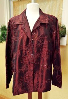 Susan Graver Style Embellished Evening Jacket XL Party Cute Fun Wear w/Slacks #SusanGraver #EveningJacket