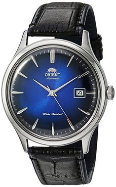 1f82121efe752 Orient Men s  Bambino Version 4  Japanese Automatic Stainless Steel and  Leather Dress Watch,