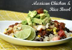 Grilled chicken over a layer of brown rice, black beans, corn and tomatoes. To top it off, some creamy diced avocado, salsa and a squeeze of lime juice.