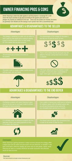 What Are Owner Financing Advantages and Disadvantages (Infographic) http://realestatecoachingandmentoring.com/owner-financing/