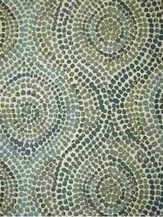 This fabric is so beautiful in person -- an upholstery fabric with a wonderful hand -- all the colors that can blend with the browns and seaglass blues in your house. Can stand up to the darker browns in your furniture. Thumbprints+Blue+Moon