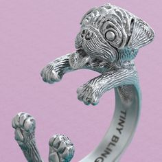 Happy Pug Jewelry Cuddle Wrap Ring