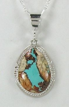 Navajo Sterling Silver and Boulder Turquoise pendant