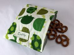 Reusable Snack Bag  Reusable Baggie  Turle by EcoHipCustomDesigns