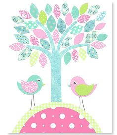 Tree Bird Nursery Art Aqua and Pink Nursery Baby Girl's Room Decor Playroom Decor Cute Birds 8 x 10 or 11 x 14 Print Cute Sweet Nursery Art Bird Nursery, Nursery Art, Baby Girl Room Decor, Baby Room, Pink Bedroom For Girls, Baby Boy Themes, Bird Tree, Playroom Decor, Cute Birds
