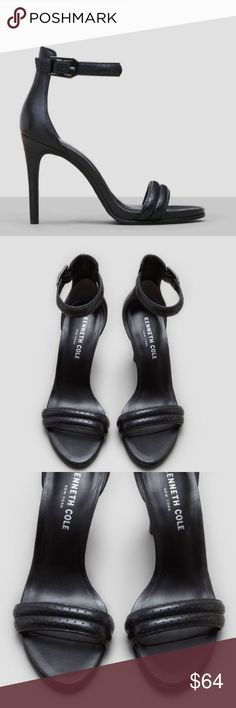 "NWT Kenneth Cole Brooke Open Toe Black Heel, 9.5 Never been worn. They are a little too big. They are gorgeous! Open toe heel, Adjustable ankle strap with buckle closure, Perforated foot strap, Leather upper and lining. They have a Rubber sole and 3.75"" heel. Kenneth Cole Shoes Heels"