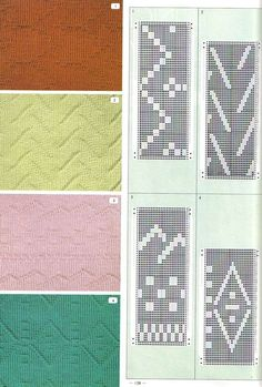 """Photo from album """"Pattern Library"""" on Yandex. Shibori, Knitting Charts, Knitting Patterns, Knit Purl Stitches, How To Purl Knit, Pattern Library, Slip Stitch, Views Album, Projects To Try"""