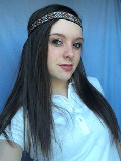 Hippie Headband Brown Black White Bohemian Headband Tribal Headband Indie Womans Hair Accessories by melmac84 on Etsy https://www.etsy.com/listing/219480197/hippie-headband-brown-black-white