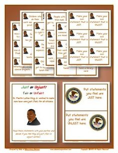Here's an activity based on to use while learning about Martin Luther King. Based on his peaceful protests on what is unjust, children sort statements according to what they feel is just and unjust. Social Studies Classroom, Teaching Social Studies, Teacher Hacks, Teacher Stuff, Sorting Activities, Holiday Activities, Social Skills, Social Work, Writing Lessons