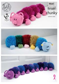 Knitted Tinsel Centipedes. Knitted homeware. draft excluder and doorstop - King Cole