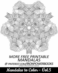 Mandala Intricate Design FREE for personal use | For a paperback copy visit http://www.amazon.com/Mandalas-Color-Mandala-Coloring-Adults/dp/149733716X | It will be awesome to share your colored works with us! Follow @ironpowerbooks for more free Coloring Pages everyday!!
