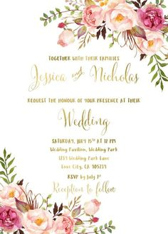 Wedding invitations blush and gold fonts 58 Super ideas Bohemian Wedding Invitations, Cheap Wedding Invitations, Wedding Invitation Wording, Boho Wedding, Bohemian Invitation, Trendy Wedding, Wedding Suite, Fall Wedding, Destination Wedding