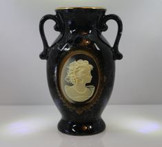 Black Urn Vase w/Ivory Cameo - Made In Japan - Vintage - Gold Accents by StepBackAntiques on Etsy