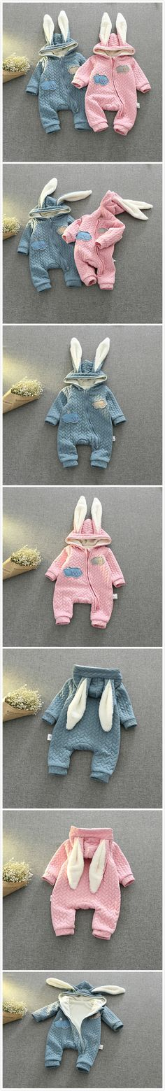 3-24Months Baby Girl Boy Cloth Rompers Winter Style Overalls Cotton Newborn Baby Boys Girls Clothes Rabbit Ear Jumpsuit Long Sleeve Hooded Outfits