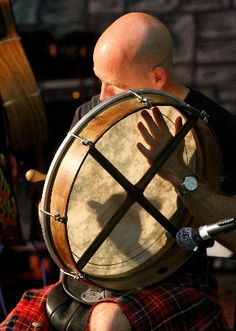 "Bodhran Irish drum - Bodhran is pronounced ""BOW-ron"" - ""dh"" is silent. Hand-held drum is played to accompany jigs, reels, etc. Its frame = 25 to 65 cm to diameter; most drums are 35 to 45 cm to"