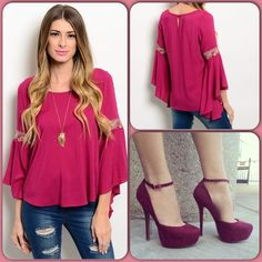Gorgeous Magenta Top This gorgeous top features flare sleeves accented wth colorful ribbon. Beautiful color. (This closet does not trade or use PayPal) shoes to available. Va Va by Joy Han Tops Blouses
