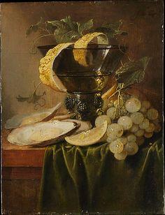 Still Life with a Glass and Oysters, Jan Davidsz de Heem  (Utrecht 1606–1683/84 Antwerp), ca 1640,   Oil on wood. The Metropolitan Museum of Art, NY.