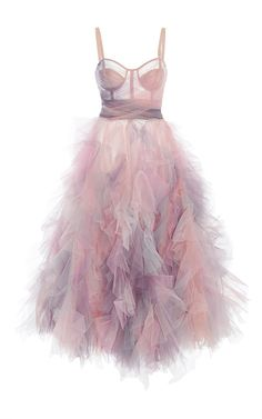 This **Marchesa** dress features a corseted bodice, a cropped hemline, and a textured A-line tulle skirt.