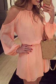 So Pretty! Sweet Coral Pink Endearing Solid Color Shoulder Hollow Out Back Slit Mini Dress For Women #Sweet #Coral #Pink #Cold_Shoulder #Mini #Dress #Summer #Beach #Fashion