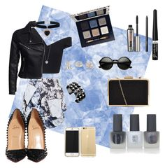 Black and Blue by megmifsud on Polyvore featuring polyvore, fashion, style, Maticevski, New Look, Topshop, Christian Louboutin, Waterford, Rock 'N Rose, Dorothy Perkins, Tory Burch, Rimmel, Benefit and NARS Cosmetics