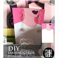 Earring cards diy template design two Necklace Display, Earring Display, Jewellery Display, Paper Earrings, Diy Earrings, Jewelry Packaging, Jewelry Branding, Diy Earring Cards, Karten Display