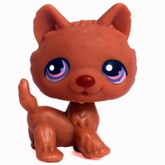 LPS#0039 (BIS) HUSKY Variant. Playful puppies. All brown fur, dark brown nose, pink/purple eyes with white and blue dots