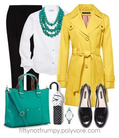 """""""Another Day of Rain"""" by fiftynotfrumpy ❤ liked on Polyvore featuring MANGO, Brooks Brothers, Aqua, Via Spiga, Accessorize, Zara and FOSSIL"""