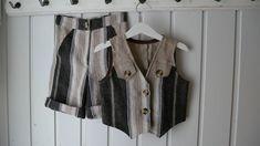 Vest og shorts i stripete lin. Str.98. - Epla Vest, Shorts, Short Shorts, Hot Pants