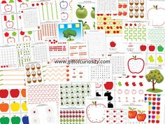 Apple Printables Pack - This free pack contains 73 apple-themed activities for kids ages 2-7. The activities cover a range of skills, including shapes and sizes, colors, same vs. different, patterning, puzzles, fine motor, math (number identification, counting, addition, subtraction), and literacy (letter identification, alphabetical order, phonemic awareness, word searches). || Gift of Curiosity