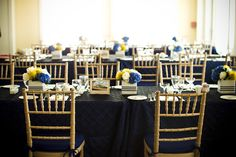 blue and yellow table settings wedding