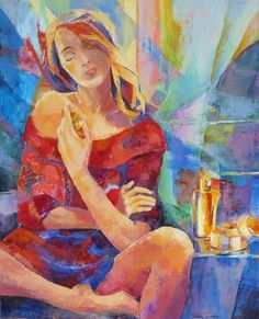 Tableau d'une série en cours sur le parfum (Huile 61 x 46 cm) par Michèle Carer