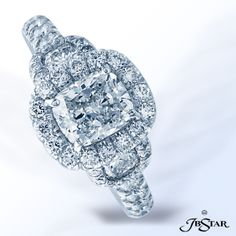 Style 7177  Beautiful platinum engagement ring features a cushion diamond center embraced with two more cushion diamonds in a micro pave 3-stone setting. #cushioncut #diamond #engagementring
