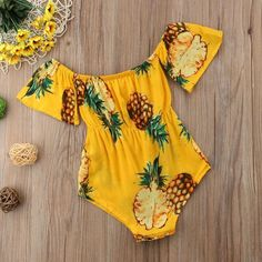 Details about Newborn Toddler Baby Girl Boy Child Off Shoulder Romper Jumpsuit Bodysuit Clothes Newborn Baby – Kinder Outfits - Baby Clothes Baby Outfits, Cute Outfits, Newborn Outfits, Baby Girl Fashion, Kids Fashion, Fashion Games, Fashion Outfits, Pineapple Print, Toddler Fashion