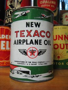 Vintage Original RARE Texaco Airplane Motor Oil Can Graphic Metal Quart CLEAN Qt | eBay