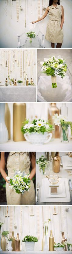 """""""milk + honey table""""   flowers, ivory burlap table cloth, name cards, painted gold wine bottles"""