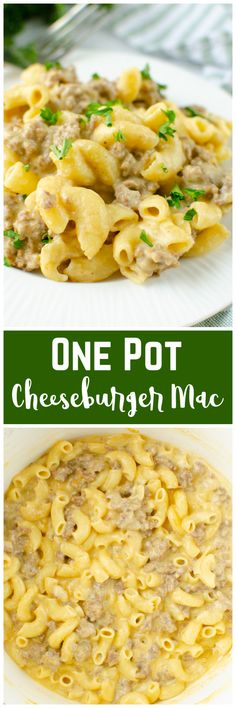 One Pot Cheeseburger Mac - cheesy, creamy pasta with ground beef all cooked in one pot. Think Hambuger Helper but better! And it's ready in less than 30 minutes which makes it the perfect weeknight dinner.