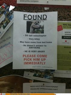 jeff gralls posted Found - tall velociraptor - Very bitey LOL to their -funny stuff! Lol, Cincinnati, Just For Laughs, Just For You, Job Fails, Friday Humor, Funny Friday, You Draw, Lost & Found