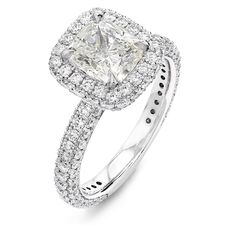3.70 Carat Halo Design Pavé Set Diamond Engagement ring in Platinum – Shimansky Engagement Ring Styles, Diamond Engagement Rings, Platinum Metal, Natural Cushions, Ring Crafts, Cushion Cut Diamonds, Custom Jewelry Design, Fashion Rings, Diamond Jewelry
