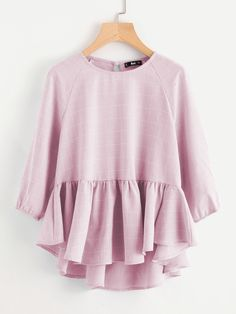 SHEIN offers Raglan Sleeve Ruffle Dip Hem Grid Blouse & more to fit your fashionable needs. Short Frocks, Indian Blouse, Spring Shirts, Raglan, T Shirts For Women, Clothes For Women, Fashion Outfits, Girl Fashion, Types Of Sleeves