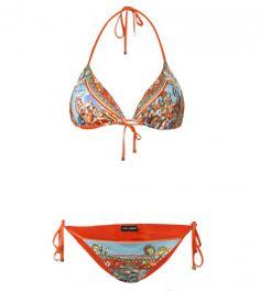 Dolce & Gabbana Orange Roman Print Bikini from www.profilefashion.com Bikini Swimwear, Swimsuits, Orange Swimsuit, Bathing Beauties, Playing Dress Up, String Bikinis, Bathing Suits, Turquoise, Roman