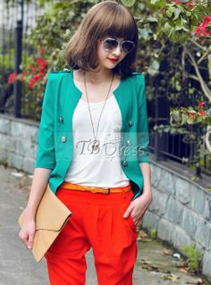 Lovely Korean Style Falbala Slim Half Sleeve Blazer