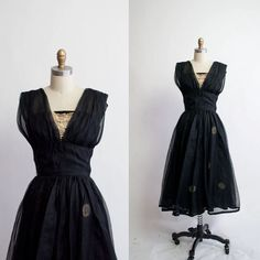 Vintage 1950s Party Dress / Black Chiffon by GingerRootVintage, $175.00