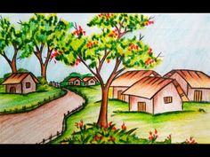 How to draw a landscape / scenery of spring season with oil pastel step by step Scenery Drawing Pencil, Scenery Drawing For Kids, Pencil Sketches Landscape, Art Drawings For Kids, Landscape Drawings, Landscape Art, Oil Pastel Art, Oil Pastel Drawings, Colorful Drawings
