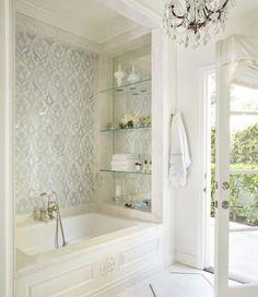 small bathroom design bath and shower Dream Bathrooms, Beautiful Bathrooms, Luxury Bathrooms, Small Elegant Bathroom, White Bathrooms, White Mediterranean Bathrooms, Master Bathrooms, Bathroom Mirrors, Small Bathroom Bathtub