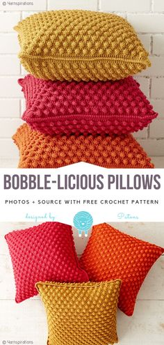 Bobble-licious Pillows Free Crochet Pattern