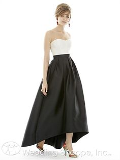 An elegant two-toned high low bridesmaid dress.